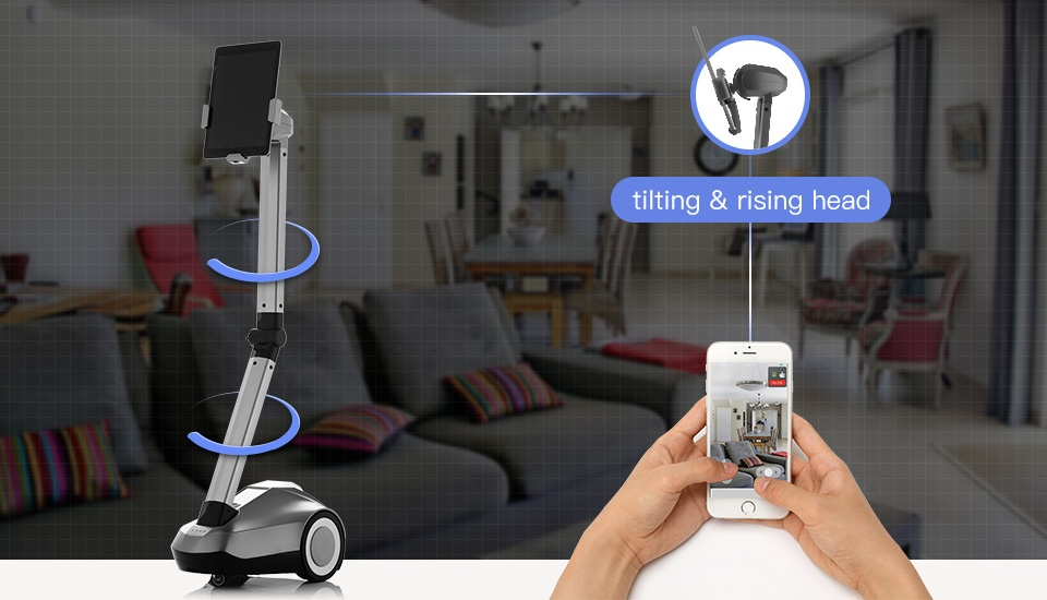 """Telepresence Robot SIFROBOT-4.0 with a Stretchable Fixture Supports 8 and 10"""" Tablet  at home"""