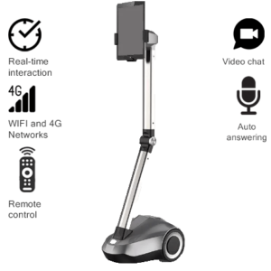 "Telepresence Robot SIFROBOT-4.0 with a Stretchable Fixture Supports 8 and 10"" Tablet"