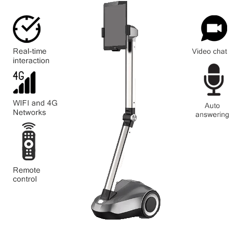 """Telepresence Robot SIFROBOT-4.0 with a Stretchable Fixture Supports 8 and 10"""" Tablet"""
