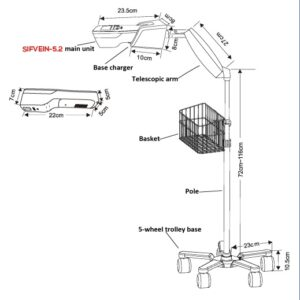 Optional Vein Finder Hospital Trolley, SIFTROLLEY-2.1 Wheeled Stand, Support for SIFVEIN-5.2 pic