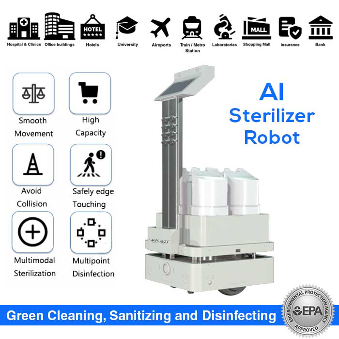 AI Sterilizer Robot, Automatic UV and Spraying Disinfection – SIFROBOT-6.55