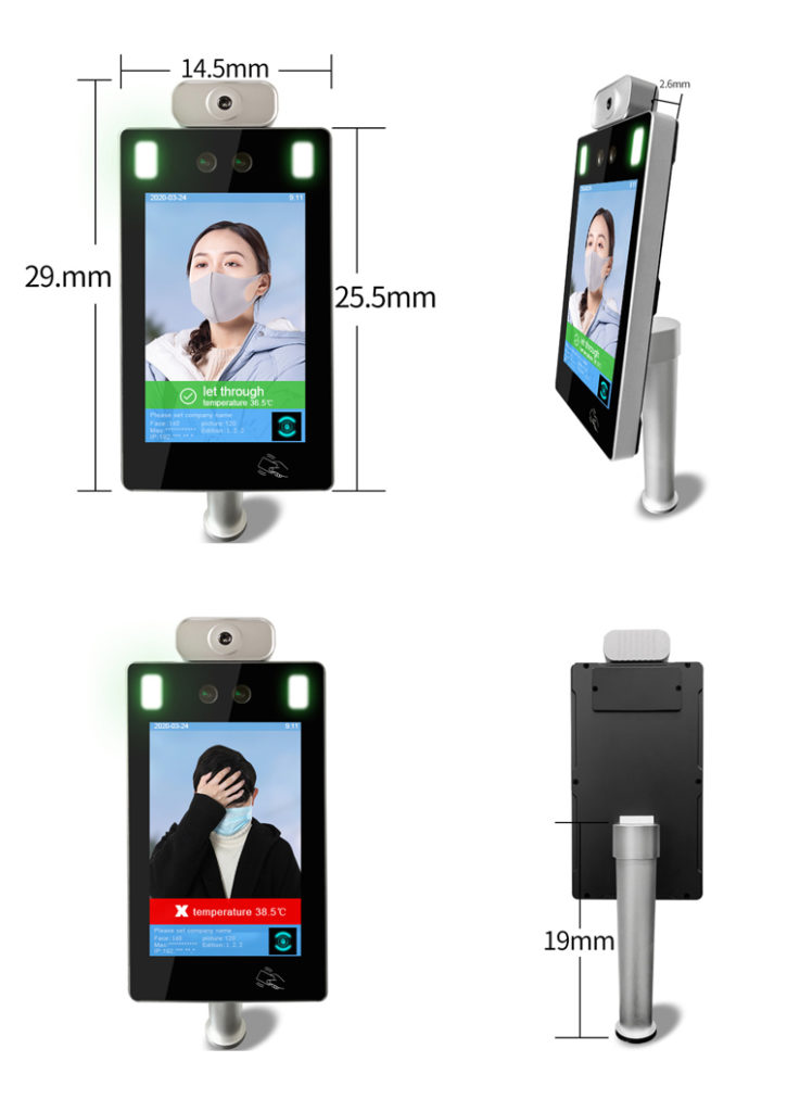Wall-mounted Face Recognition Infrared Non-Contact Thermometer - SIFROBOT-7.4  Thermometer size