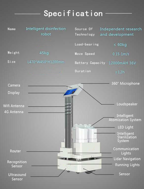 AI Sterilizer Robot, Automatic UV and Spraying Disinfection - SIFROBOT-6.55  specifications
