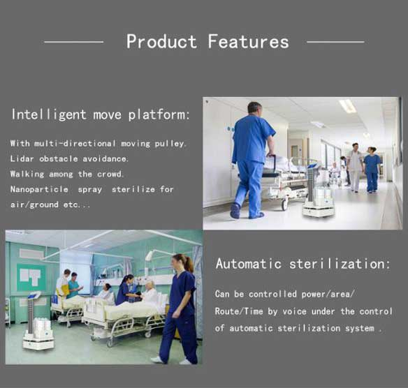 AI Sterilizer Robot, Automatic UV and Spraying Disinfection - SIFROBOT-6.55 features