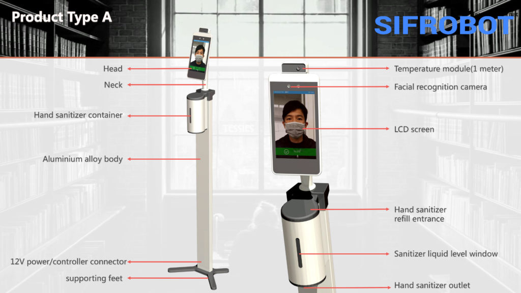 Temperature Measurement and Hand Sanitizer Robot - SIFROBOT-7.72 Temperature checker robot fatures