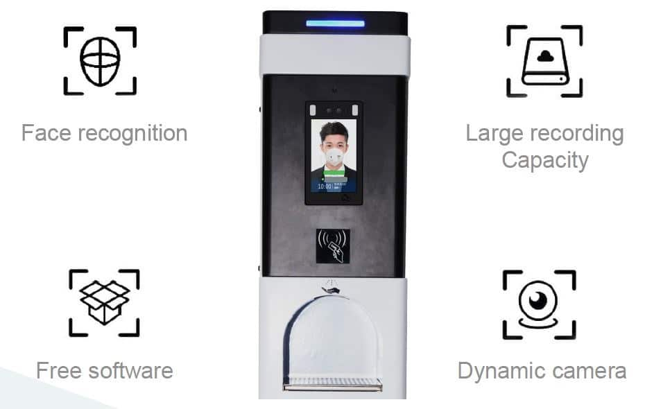 Temperature Checker and Touch-Free Hand Sanitizer Kiosk: SIFROBOT-7.73 temperature checking robot