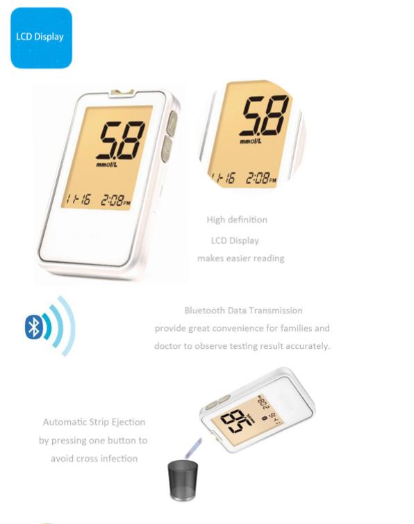 FDA Bluetooth Glucose Meter SIFGLUCO-3.5 LCD