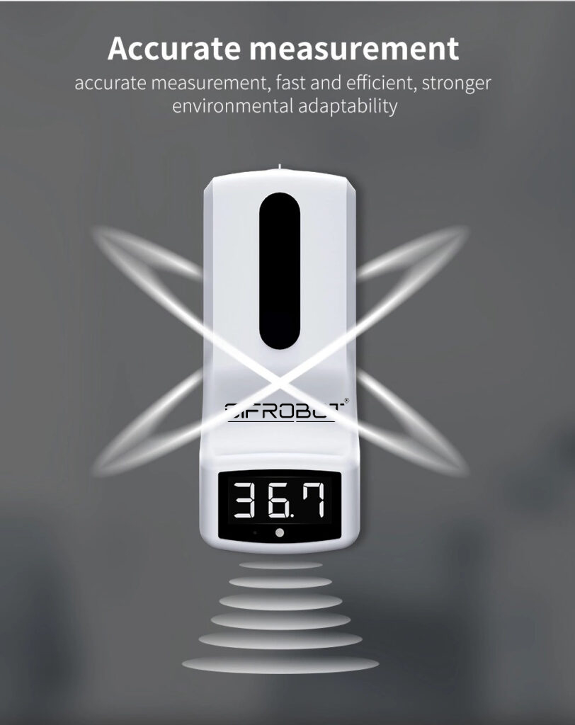 Wall-mounted Non-contact Thermometer and Hand Sanitizer Dispenser: SIFCLEANTEMP-1.0 accurate measurement