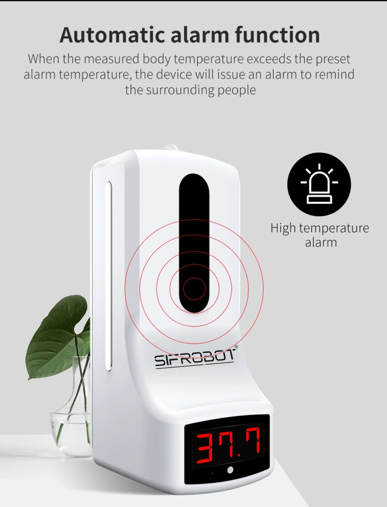 Wall-mounted Non-contact Thermometer and Hand Sanitizer Dispenser: SIFCLEANTEMP-1.0 alarm