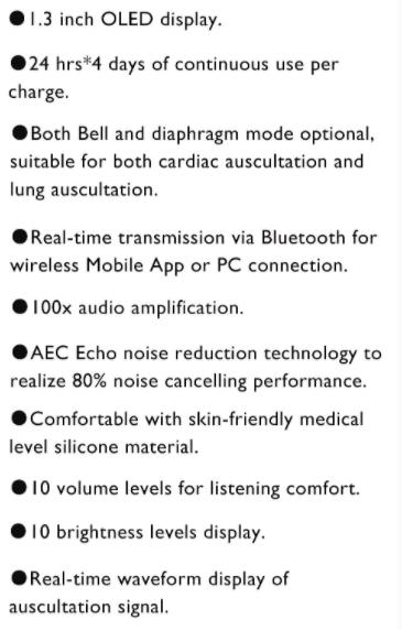 Bluetooth Cardio Pulmonary Stethoscope SIFSTETHO-1.0 features